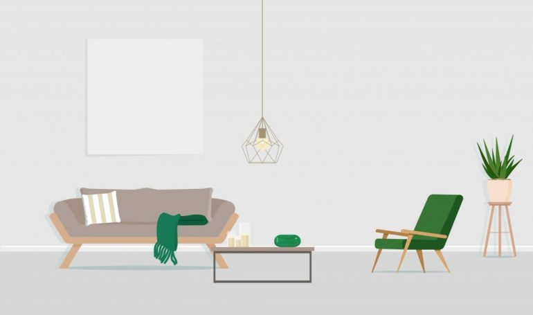 Interior design of the room with a gray sofa, an armchair and an empty poster on the wall. Vector flat illustration.