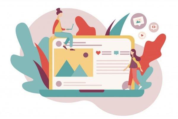 2019.04.23_social Social media concept. Online communication. Flat cartoon style. Vector illustration
