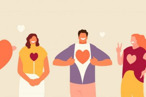 Smiling people group holding hearts. Valentine s Day. Love and volunteering vector illustration